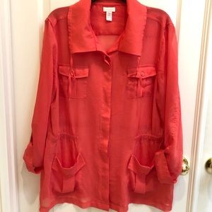 Chico's Women Button Down orange sz 3 XL